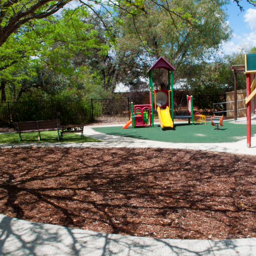 Exterior of Nellie Hall showing Playground.