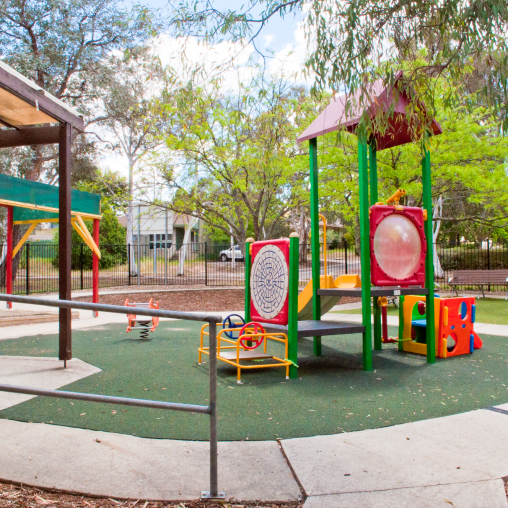 Exterior of Nellie Hall showing the Playground..